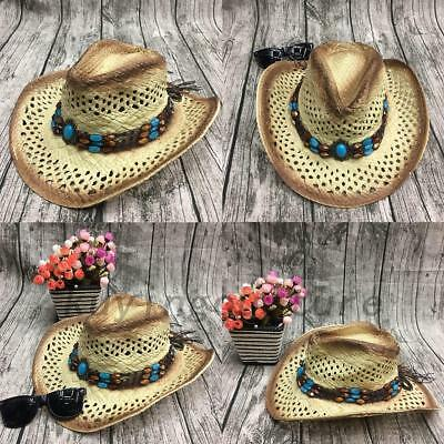 1 X Women/Men Cowboy Straw Summer Sun Hat Handmade With Wired Brim