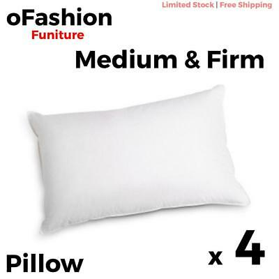 Bed Pillows 4 Pack 2 Firm 2 Medium Home Family Cotton Cover Polyester 48 x 73cm