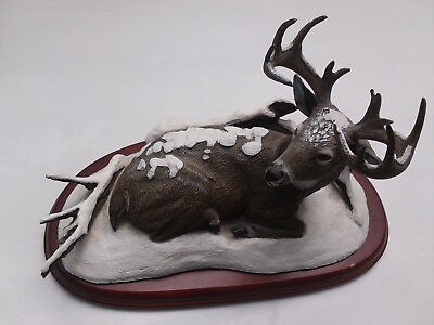 Danbury Mint Sculpture Titled: Winter Stag By Bob Travers ~ White Tailed Deer