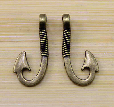 20/40/100 pcs Retro style bronze Fish hook charm pendant 30x13 mm