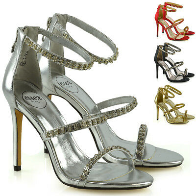 Womens Stiletto High Heel Strappy Sandals Ladies Diamante Party Prom Shoes Size
