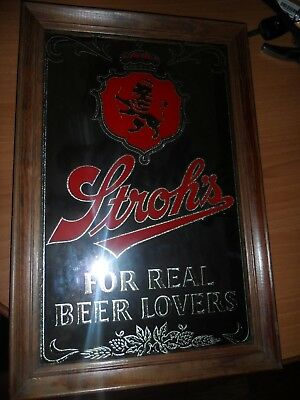 """Vintage Bar Mirror - Stroh's """"For Real Beer Lovers"""""""