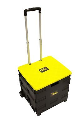 dbest products Quik Cart Two-Wheeled Collapsible Handcart with Yellow Lid Rol...