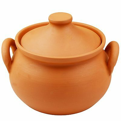 Cooking clay Terracotta pot with lid and handles 1.5 L