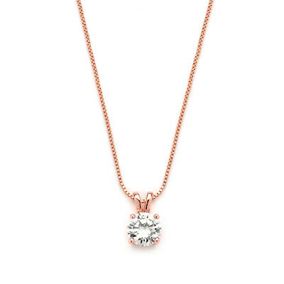 Mariell 2 Cwt Round-Cut CZ Solitaire Necklace Pendant, Genuine Rose Gold Plated
