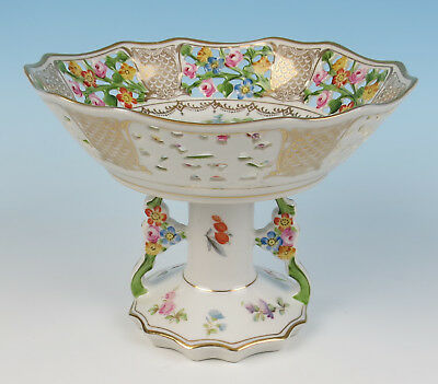 Rare w/ Unusual Base Dresden Reticulated Porcelain Compote German Wachter Flower