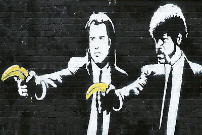 Pulp Fiction BANKSY HD  Canvas Art Print Box Framed Picture Wall Hanging BBD
