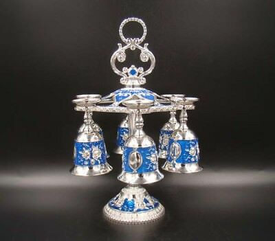 Beautifully Collectible Handmade Copper Silver Cloisonne wine rack Tea Set