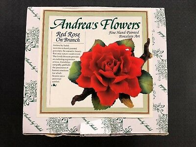 RED ROSES Hand-painted Porcelain Art-Andrea's Flowers by Sadek  NIB NEW
