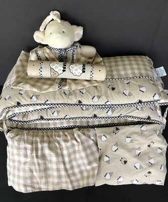 Lambs And Ivy Little Lambs Crib Bumper Diaper Stacker Sheet  Border 5 Pc RETIRED