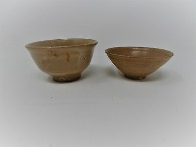 Set of 2 Asian Celadon? Bowls/Cups - Antique? In Wooden Box