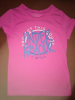 New Under Armour Heat Gear Youth Girls Graphic Pink T-Shirt Top Size: Small