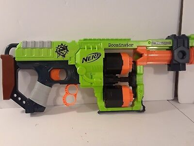 NERF Zombie Strike Doominator Foam Dart Blaster Green Orange Tested