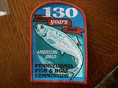 Pa Pennsylvania  Game Fish Commission Patch 130 Years 1866-1995 American Shad