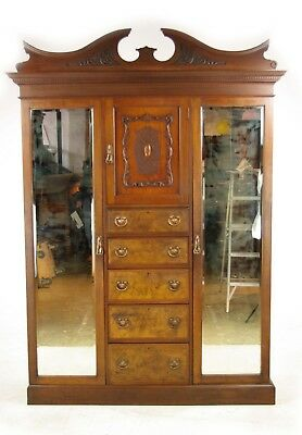Antique Walnut Armoire, Walnut Wardrobe, Chest of Drawers, Scotland 1900, B960