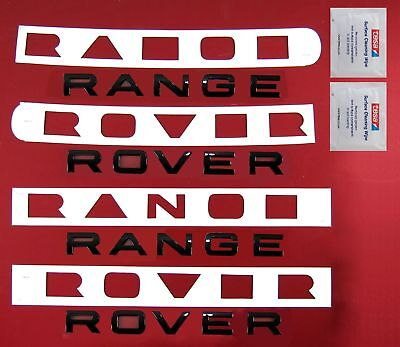 Gloss BLACK Range Rover EVOQUE lettering upgrade kit FRONT+REAR+wipes+templates
