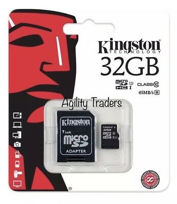 32GB NEW Kingston Micro SD SDHC Memory Card Class 10 and Adapter 32GB UK Seller
