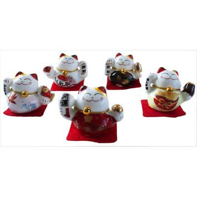 Lot de 5 Chats Maneki Neko en porcelaine