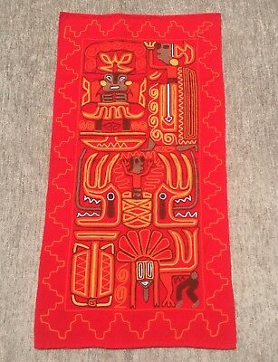 Mexican Huichol Indian Aztec Style Red Woven Wool Yarn Wall Hanging Tapestry