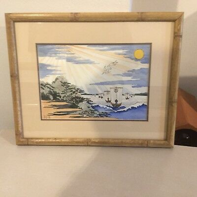 Japanese Watercolour After Yashimo Cakutei From Woodblock
