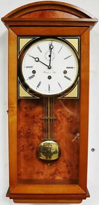 Stunning Vintage Hermle Burr Walnut & Glass Musical Westminster Chime Wall Clock