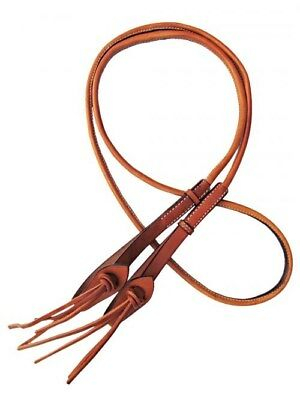 Showman 8' Round Leather Roping Reins with Leather Loop Ends!! NEW HORSE TACK!!