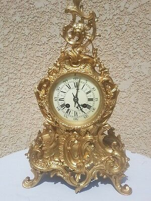 Lovely antique French gilt bronze 8 day bell striking mantle clock