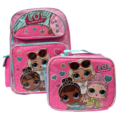 """LOL SURPRISE Large 16"""" inches Backpack & Lunch Box New Licensed Product - Pink"""