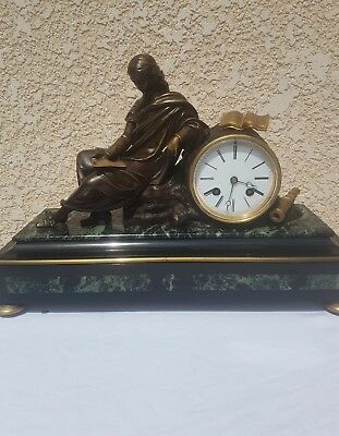 French Bronze Clock Empire Fully Restored