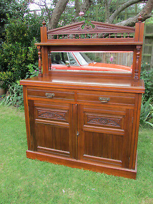 Late Victorian Mahogany Mirror Backed Sideboard - Lovely condition & carving