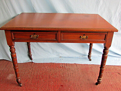 Antique Mahogany 2 drawer side table on Castors- Nice colour, Lovely!