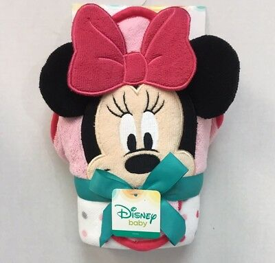 Disney Minnie Mouse Baby Girls Hooded Towel & Washcloth Set - Brand New Pink