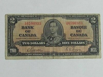 BANK OF CANADA 1937 -$2 BANK NOTE - Prefix X/B - Signed Gordon & Towers