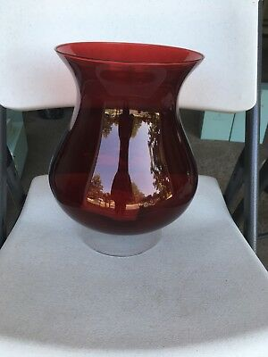 Large Ruby Red Partylite Hurricane Vase Candle Holder