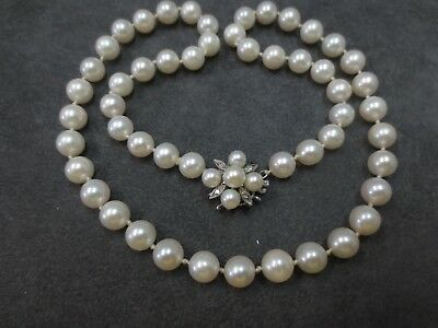 14k VTG Cultured Pearl Necklace 14K Solid W. Gold Diamond Pearl Clasp
