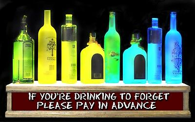 "24"" DRINKING TO FORGET BAR SIGN shot glass / LIGHTED liquor bottle display"