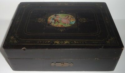 Antique Wood Sewing Box w/ Transferware Children and Dog Image No Key - (As-is)