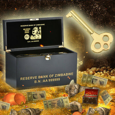 WR Zimbabwe Wooden Box & 1000 PCS Colored Gold Z$100 Trillion Dollars Banknotes