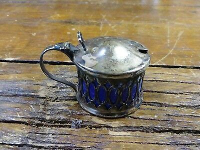 Antique E.P.N.S. Cobalt Blue Salt Cellar Silver Made in England
