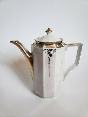 Rare Art Deco Opalescent Pink Porcelain Coffee Pot Tea Pot D&B Germany Jorgensen