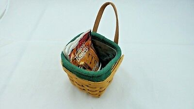 2000 Longaberger Chives Booking Basket  with Protector and  Green Ivy Liner