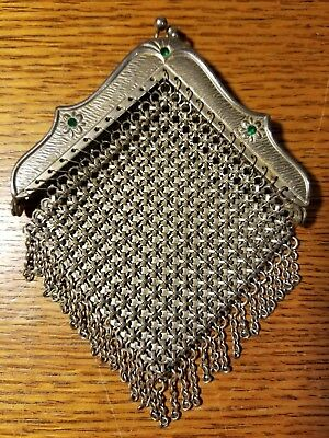 Art Deco Flapper Vintage Silver Chain Metal Mesh Coin Purse Flowers Green Stones