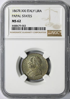 1867-R XXI Italy Silver Lira Papal States NGC MS62