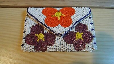 Vtg Native American Beaded Coin Purse Doe Skin Very Nice Condition - No Reserve