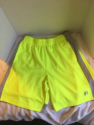 Russel Shorts Athletic Dri Power 360 Mens Size Large Neon Yellow