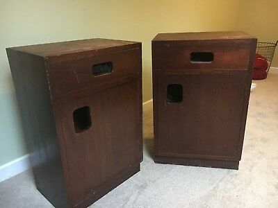 Retro Vintage Mid Century Bedside Cabinets Cupboard Stamped Mann Eggerton Rare