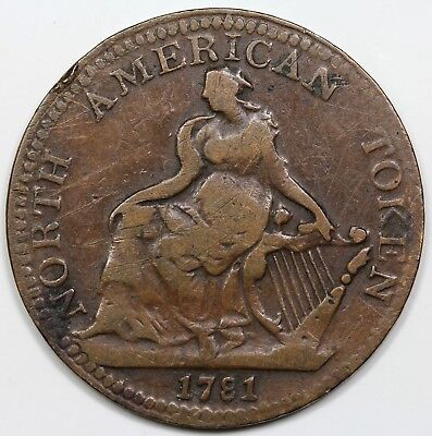 1781 North American Token, VF detail
