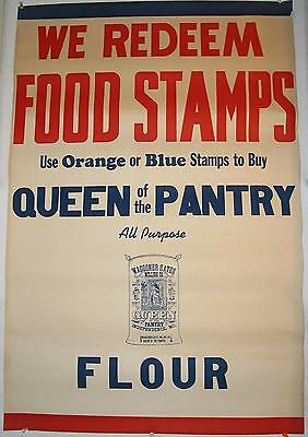 """Queen of the Pantry Flour Window Sign  24"""" x 36""""  1930's """"We Redeem Food Stamps"""""""