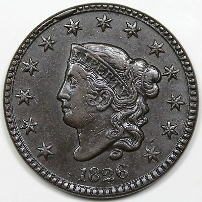 1826 Coronet Head Large Cent, XF detail