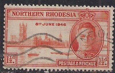 Northern Rhodesia 1944 KGV1 1 1/2d Victory used stamp ( C364 )